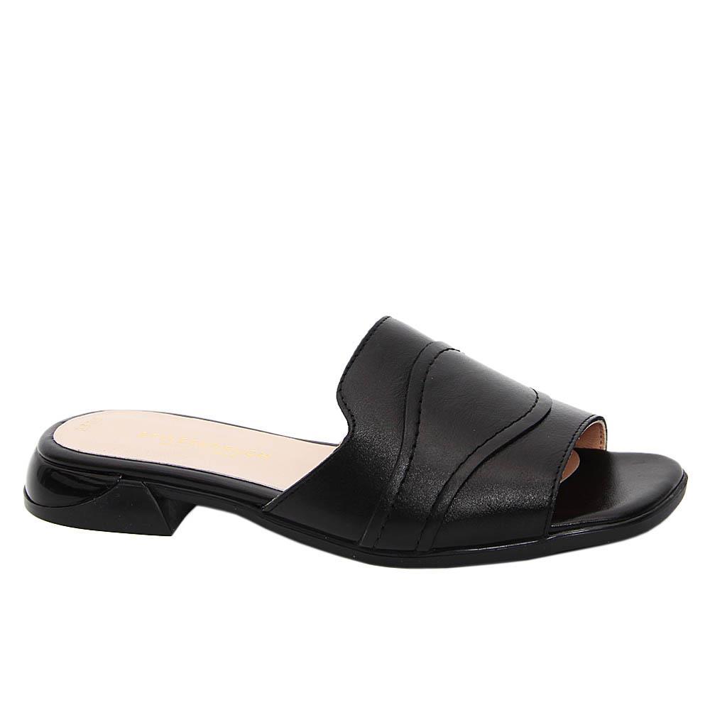 Black Irma Tuscany Leather Women Flat Slippers