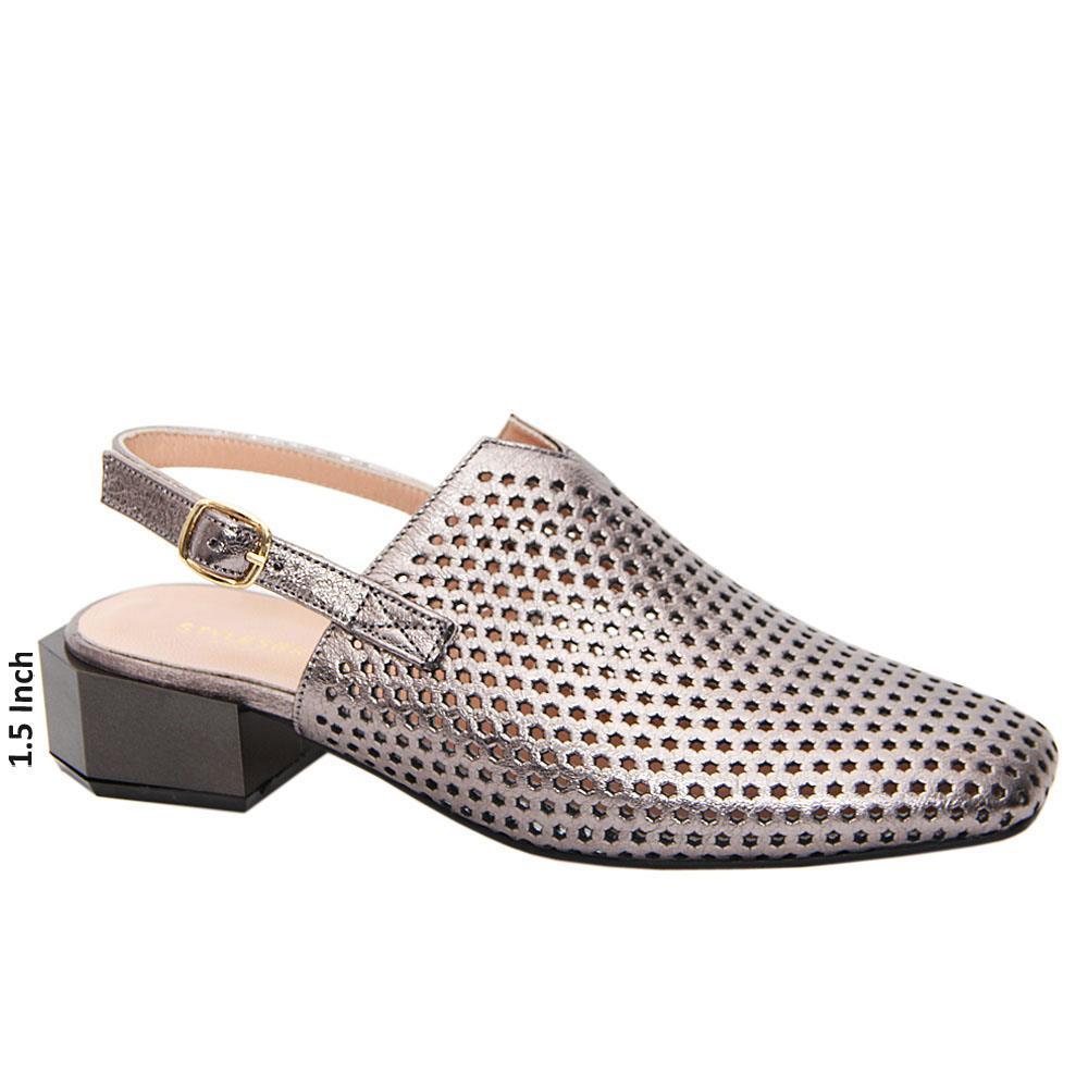 Metallic Gray Mira Tuscany Leather Low Heel Breathable Slingback Pumps