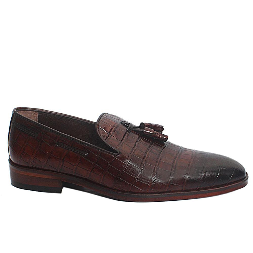 Coffee Bowen Croc Leather Loafers