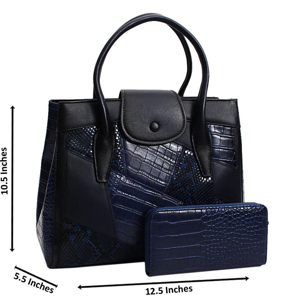 Navy Black  Chiara Mix Croc Snake  Leather Medium Tote Handbag