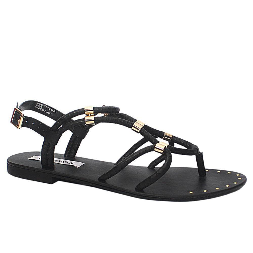 Black ChariLeather Ladies Flat Sandals