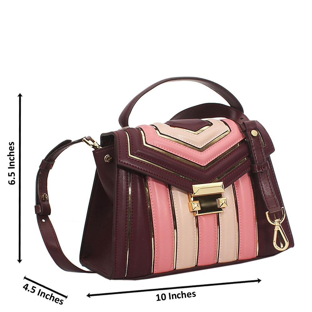 Dorah Burgundy Cowhide Leather Mini Top Handle Handbag