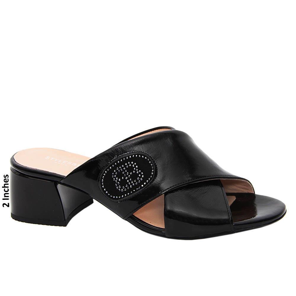 Black Miranda Patent Tuscany Leather Mid Heel Mule