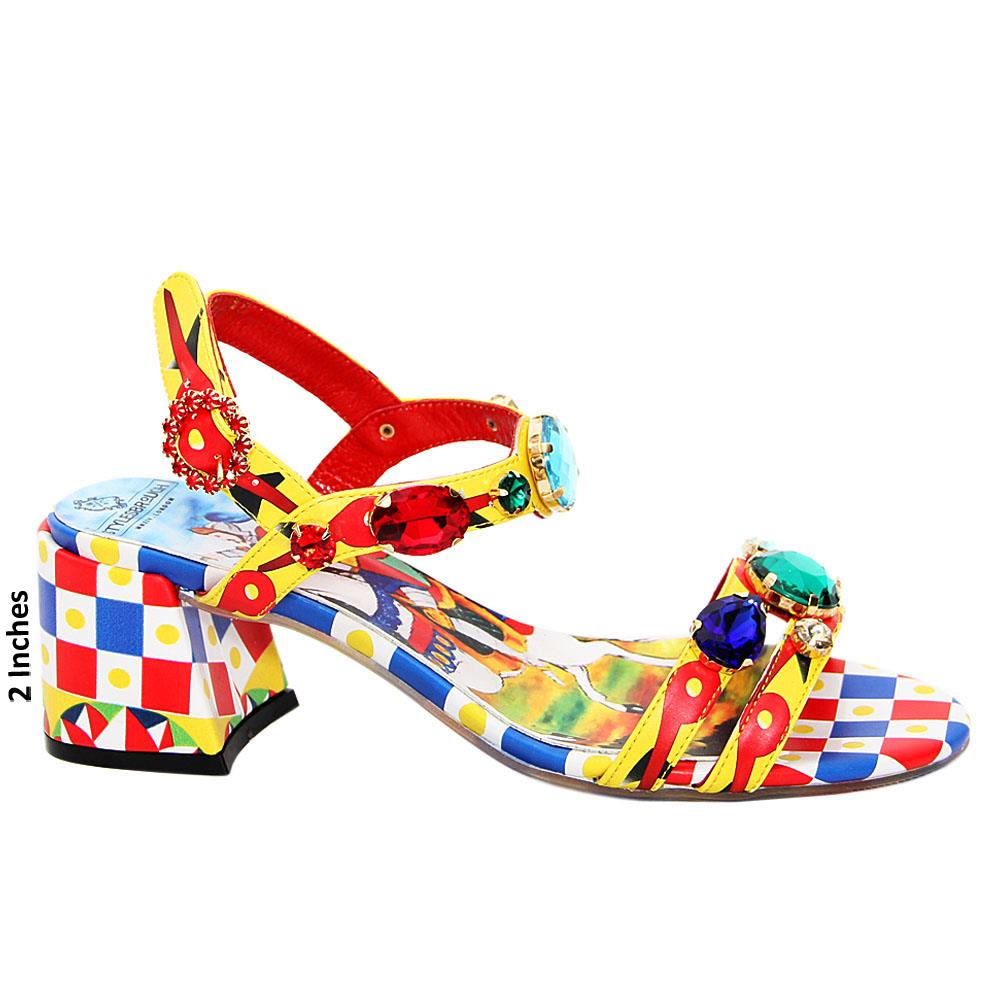 Multicolor Solange Graphic Italian Leather Mid Heel Sandals