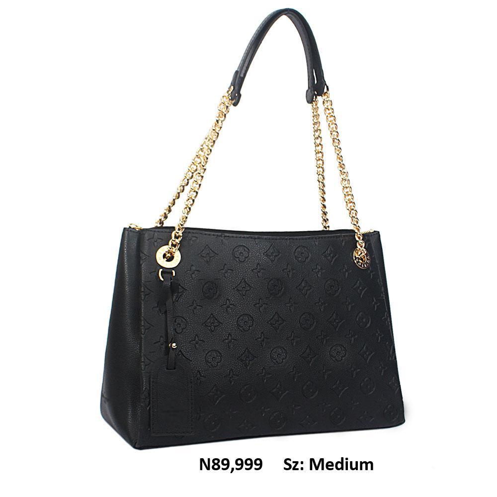 Black Cowhide Leather Medium Handbag