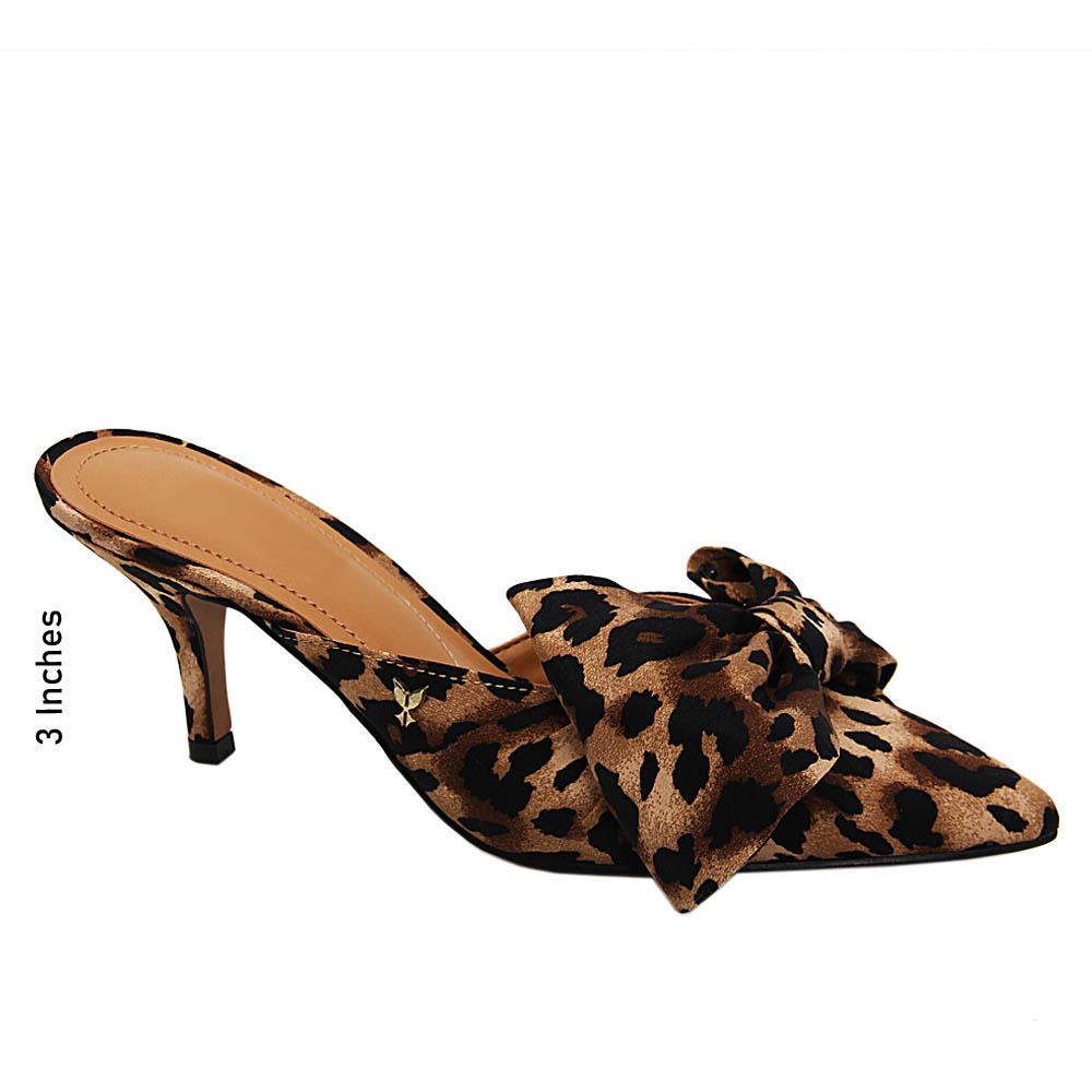 Brown Black Hazel Satic Fabric High Heel Half Pumps