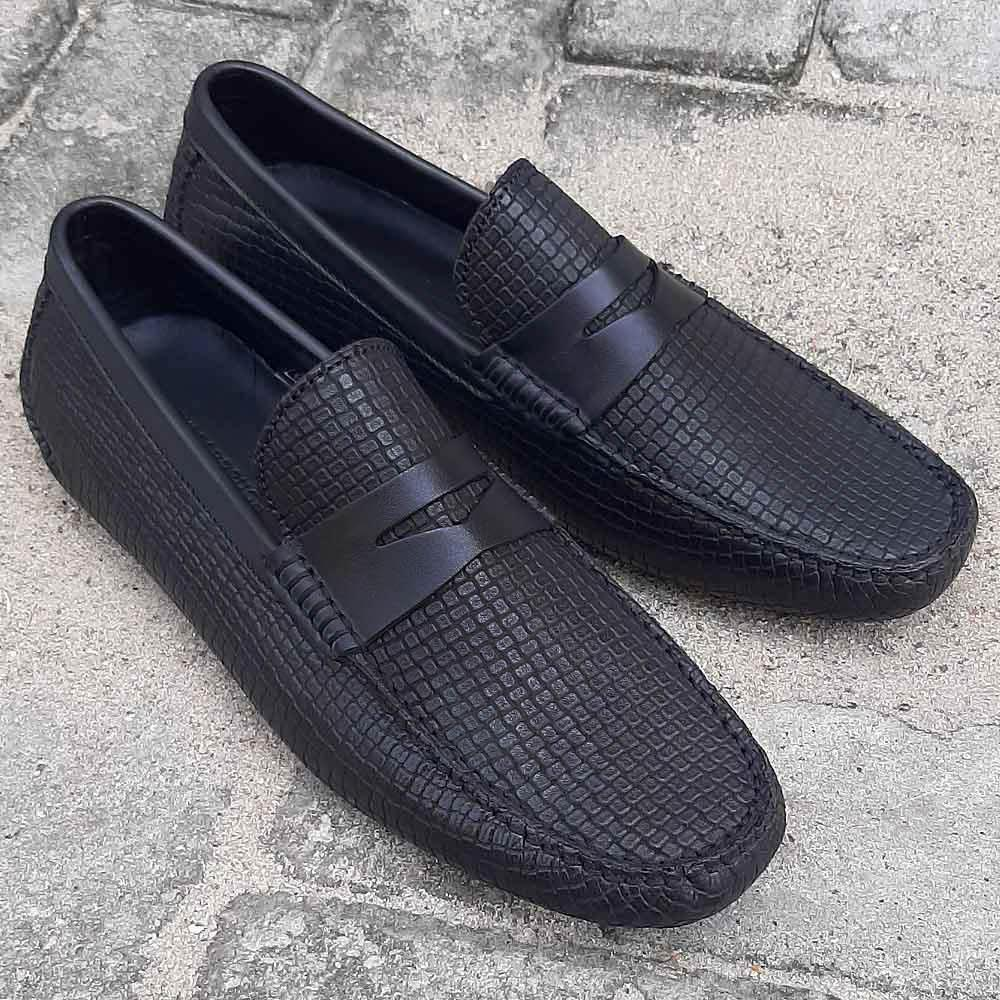 Black Ernesto Italian Leather Drivers Shoe
