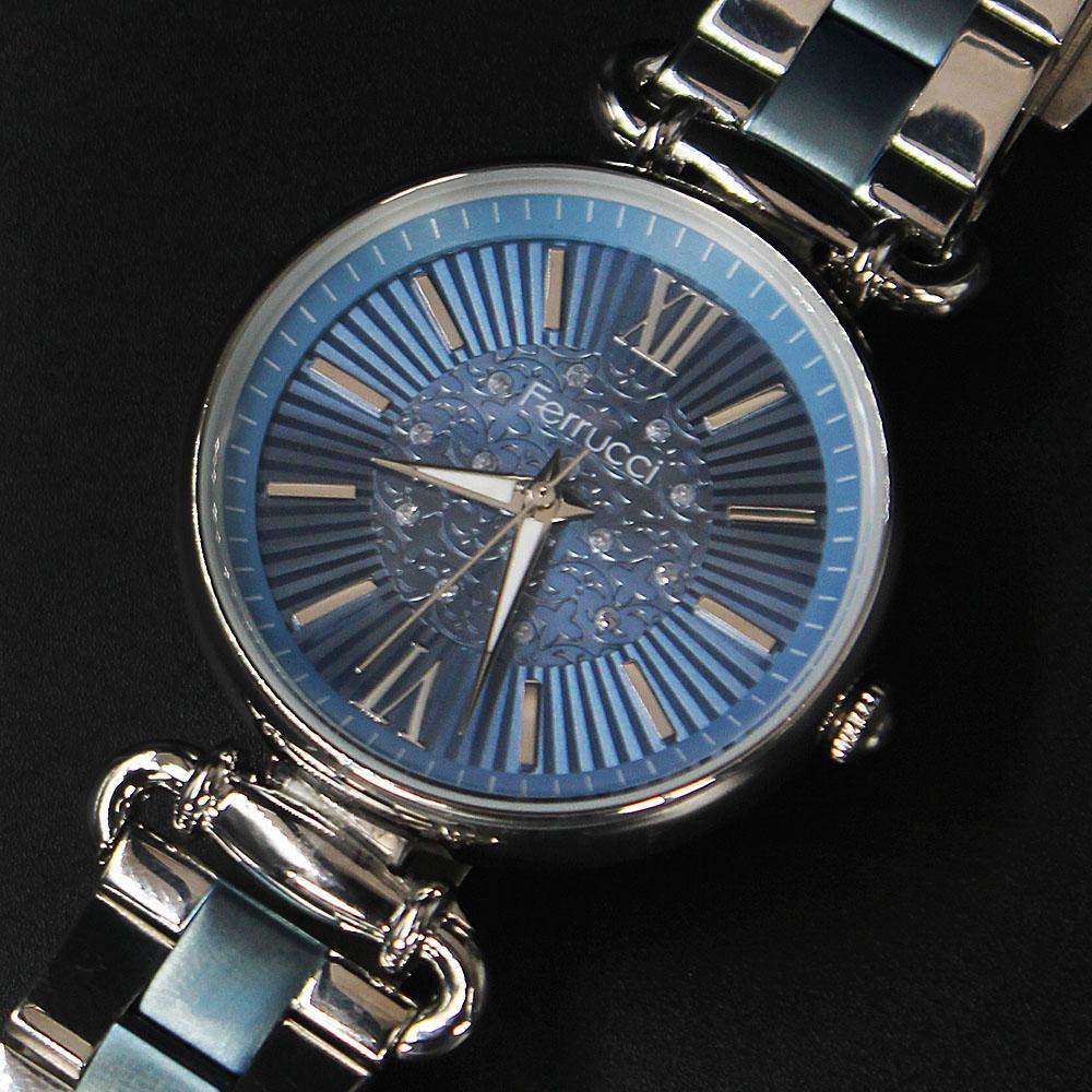 Ferrucci Romania Blue Silver Mesh Ladies Watch