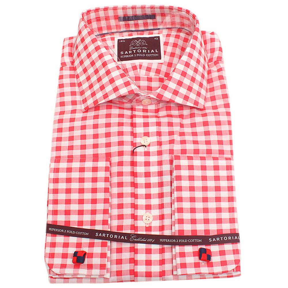 Sartorial Red White Check Regular Fit 2 Fold L Sleeve Shirt Wt Cuff Sz 15.5