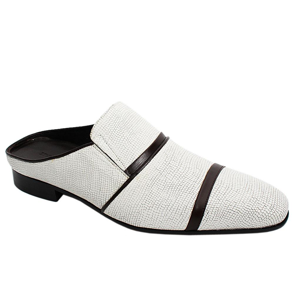 White Coffee Baski Italian Leather Men Half Shoe Slippers