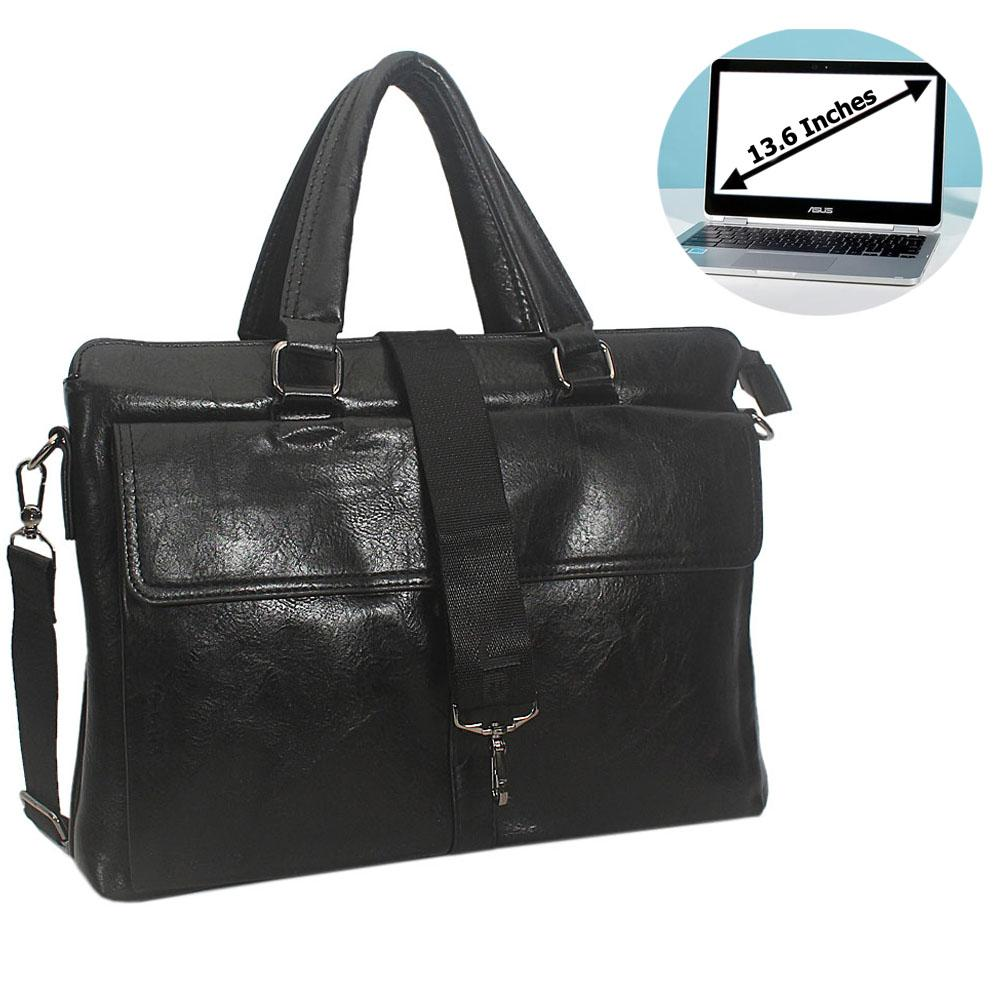 Black Felipe Leather Briefcase