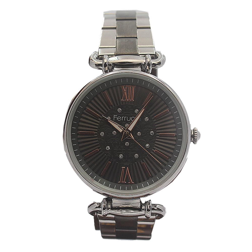 Ferrucci Romania Dark Silver Mesh Ladies Watch