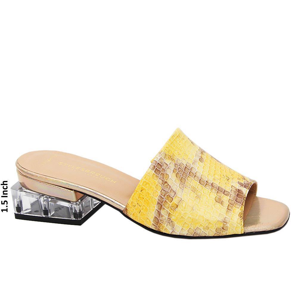 Yellow Mix Eleonora Tuscany Leather Mid Heel Mule