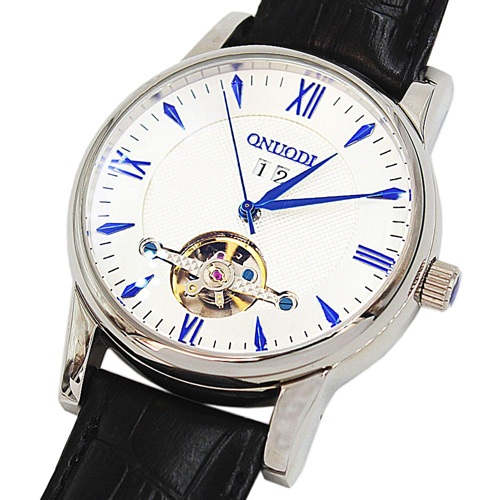 Shanghai Nudi BlacSteel Blue Black Leather Automatic Roman Watch