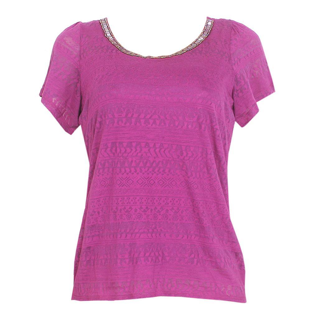 Per-Una Purple Cotton S-Sleeve Ladies Top Sz-Uk 12