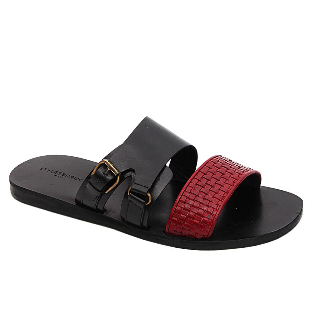 Red Black Wade Italian Leather Slippers