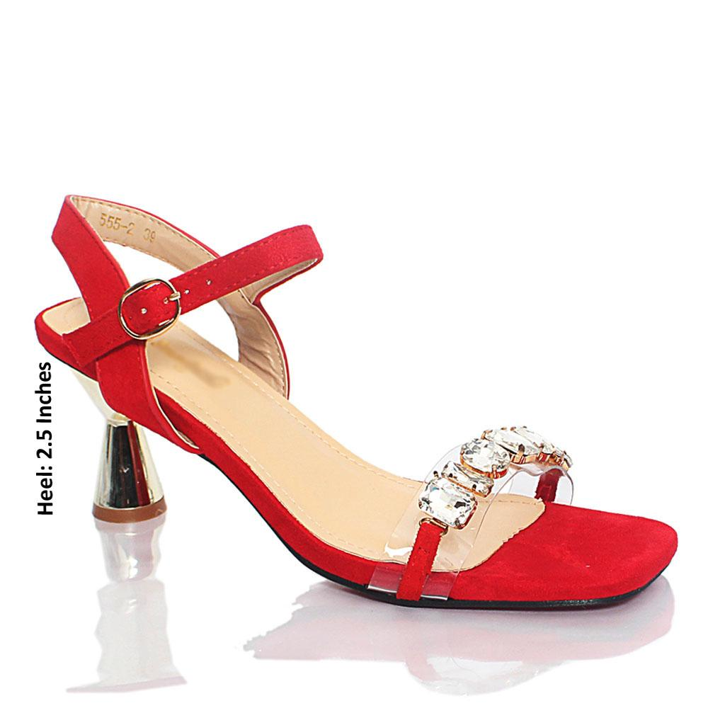 Red Katty Crystals Studded Rubber Suede Leather Heel Sandals