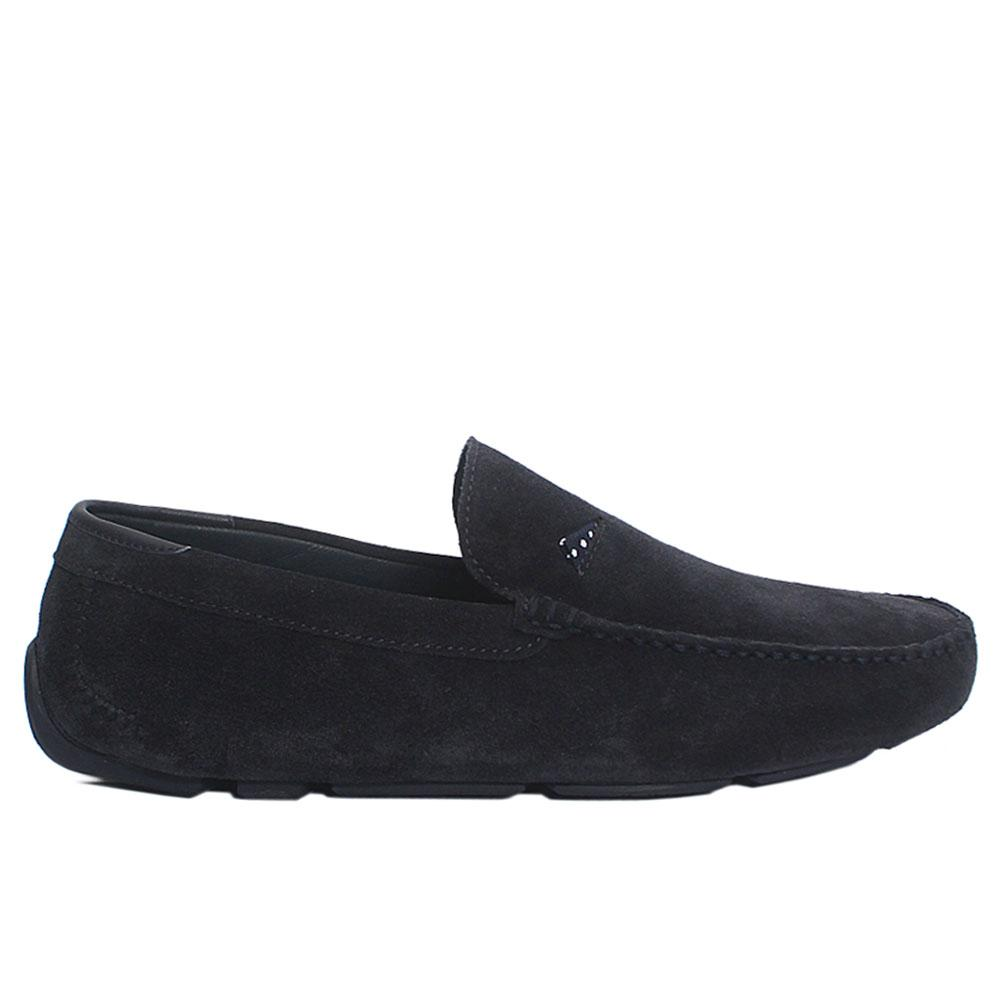 Navy Omari Suede Italian Leather Drivers Shoes