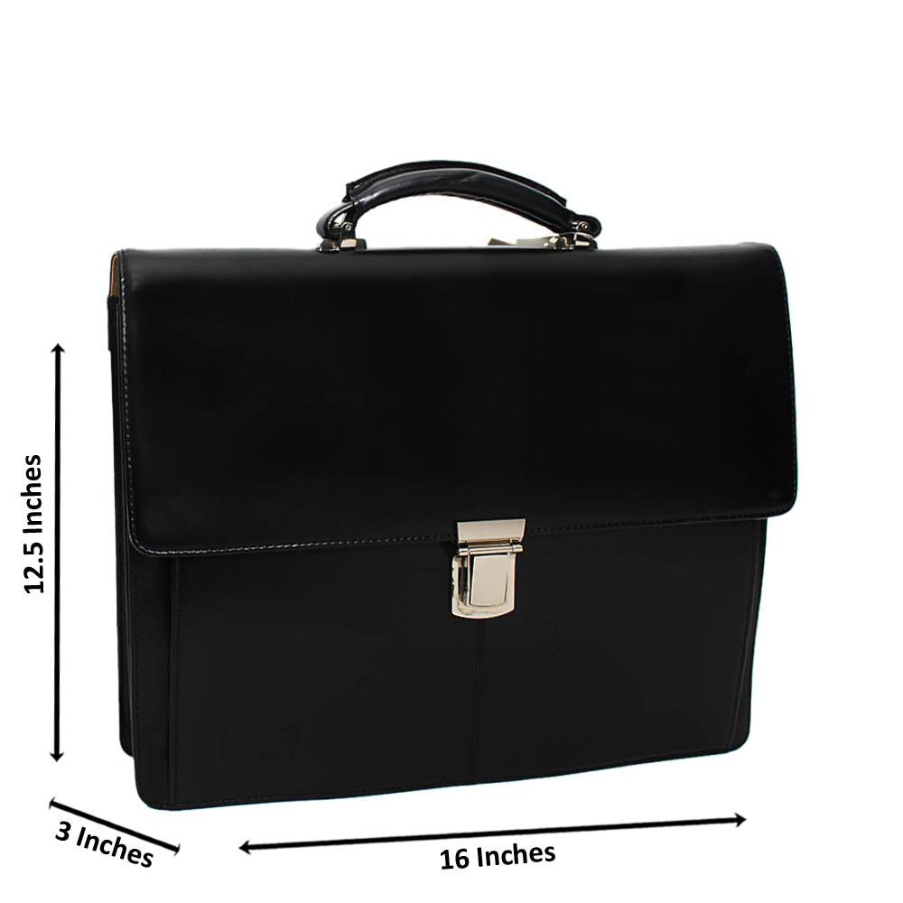 Black Smooth Patterned Italian Leather Briefcase