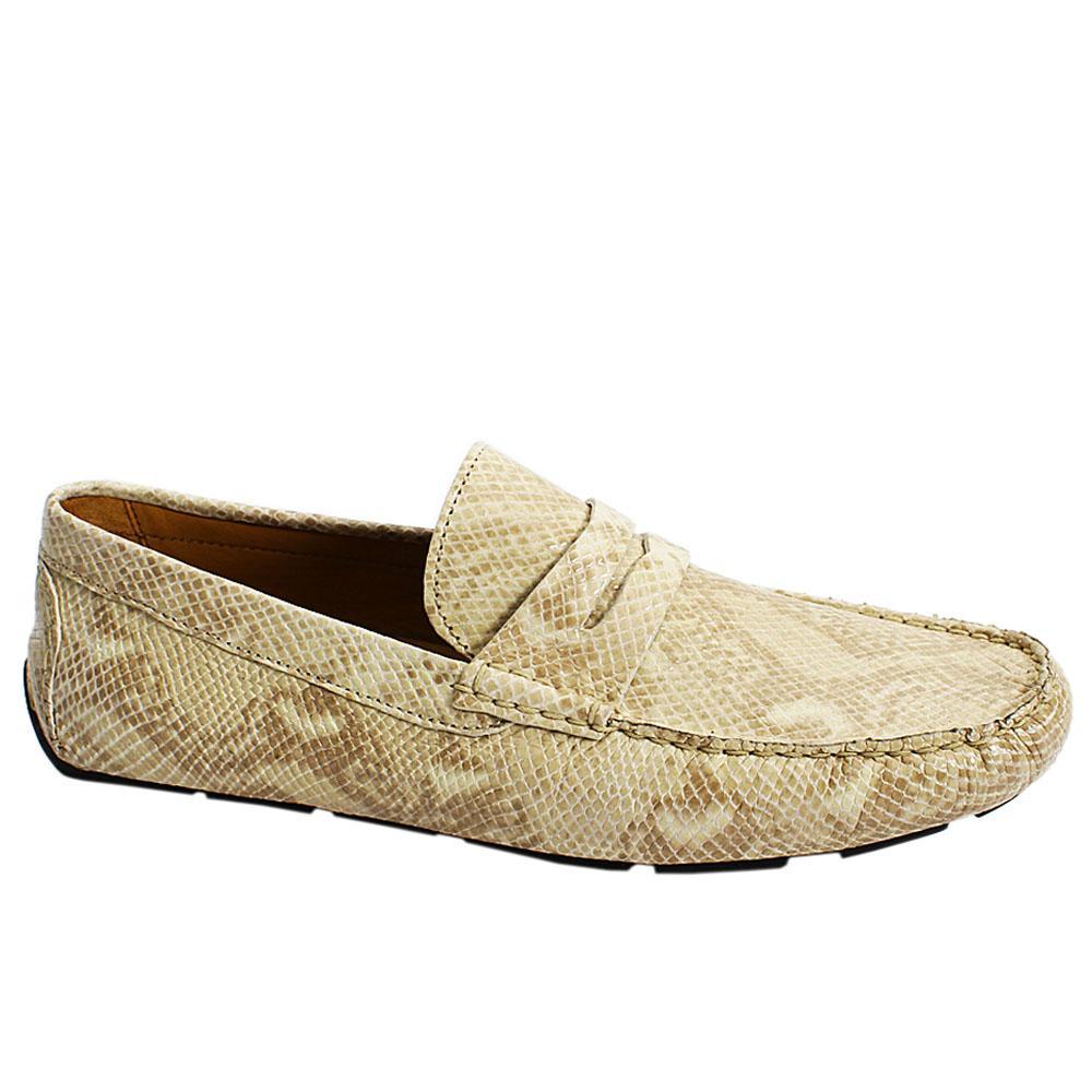 Cream Vizon Snake Italian Leather Men Drivers Shoe