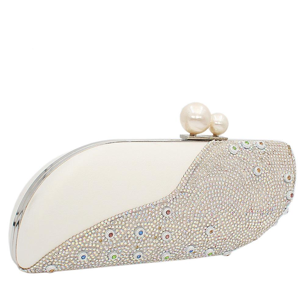 White Nina Crystal Studded Leather Clutch Purse