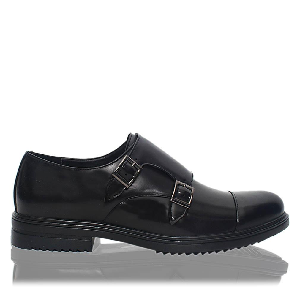 Black Edward Patent Leather Men Monk Strap Shoes