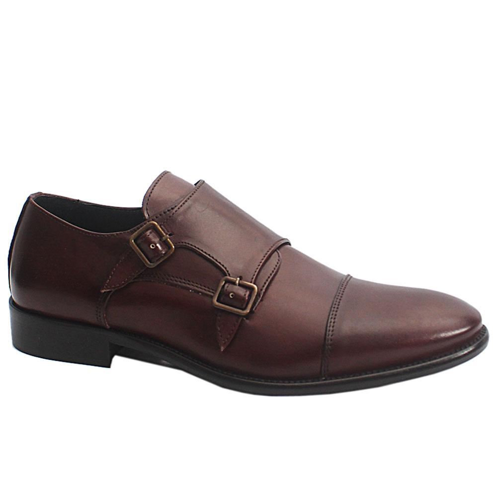 Coffee Dejavu Italia Leather Double Monk Strap Men Shoe