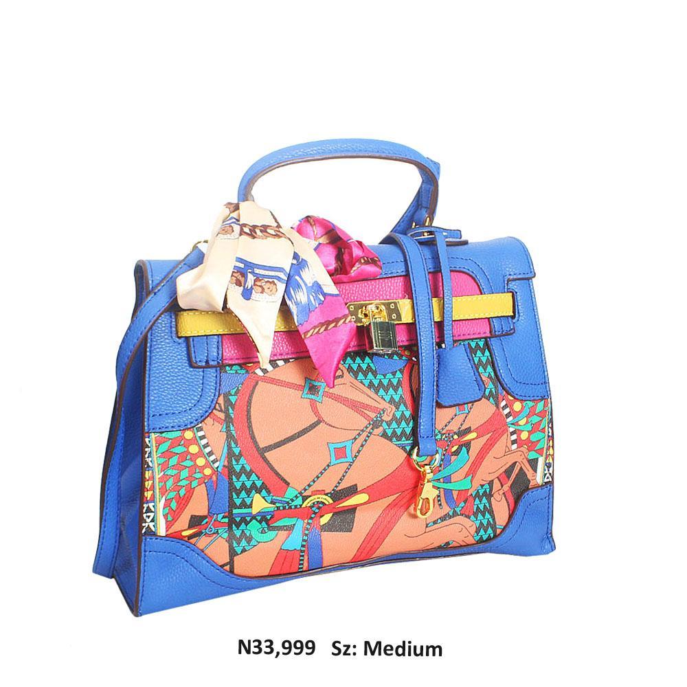 Blue Marikit Graphic Print Leather Top Handle Handbag