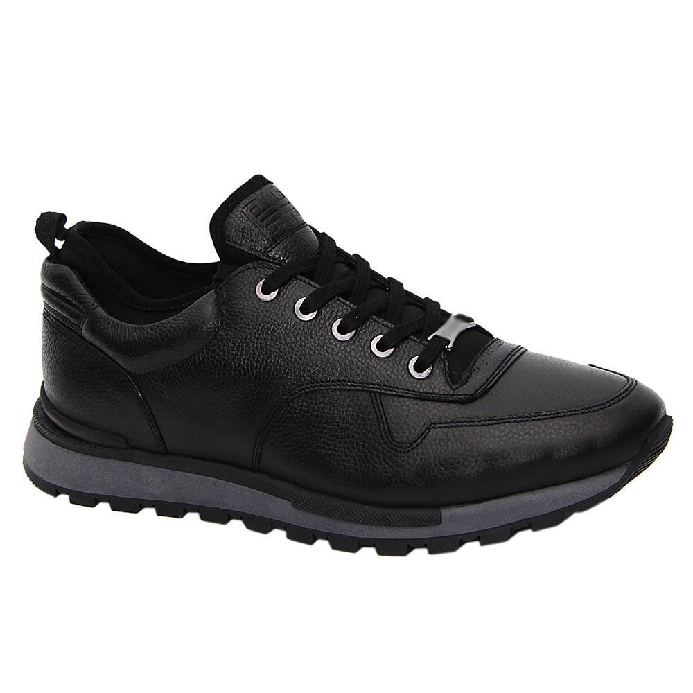 Black Corazzo Italian Leather Sneakers