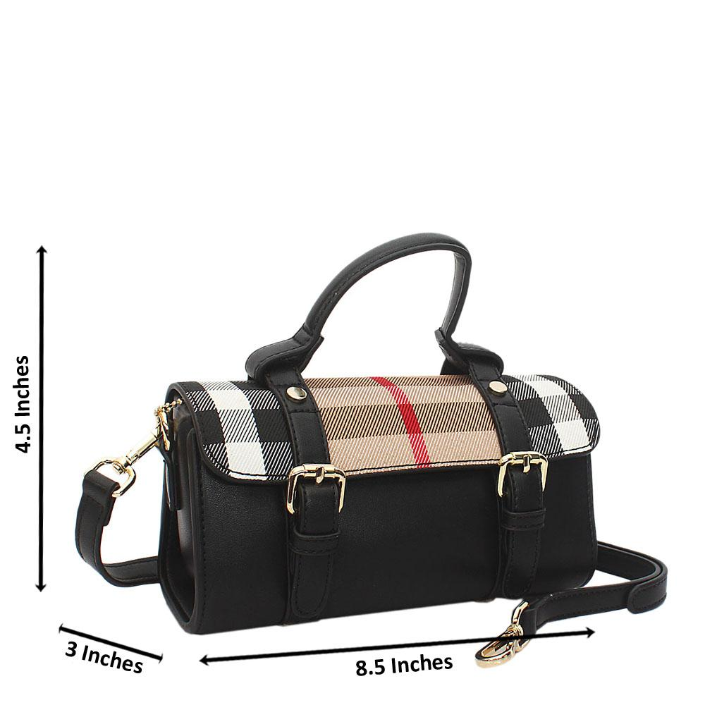 Black-Brown-Fabric-Leather-Mini-Top-Handle-Handbag