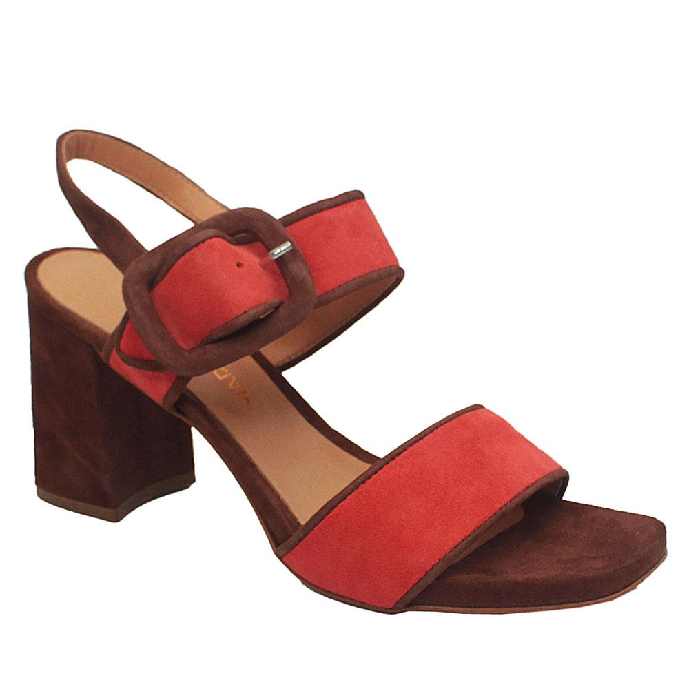 Gaia Salmone Peach Leather Block Heel Sandals