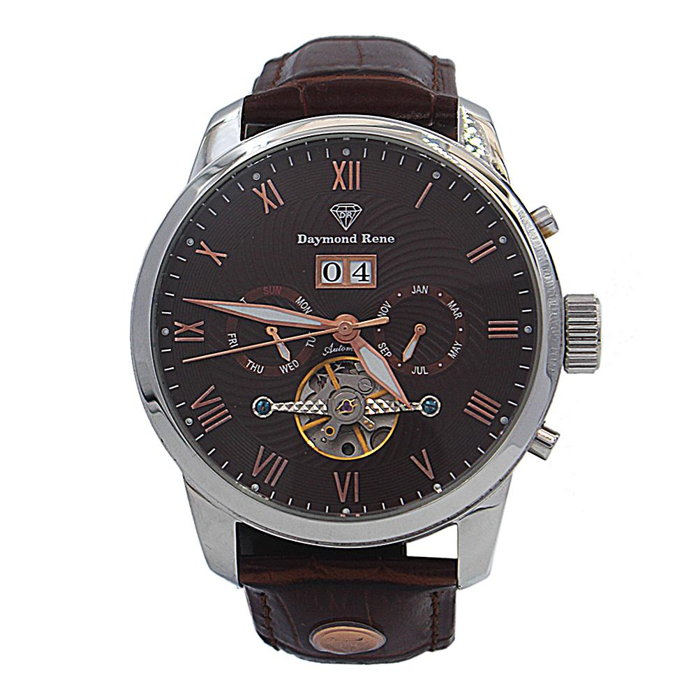 DR 3ATM Brown Silver Leather Automatic Watch