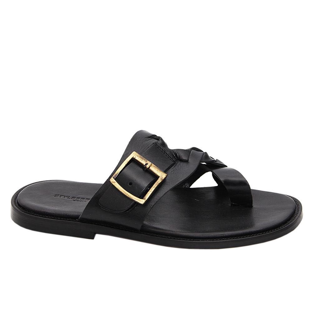 Black Romeo Italian Leather Slippers