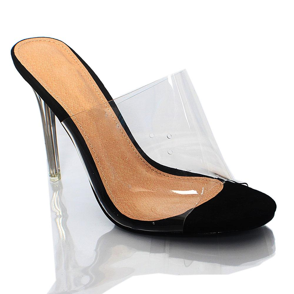 Black Suede Leather AM Transperent High Heel Slippers