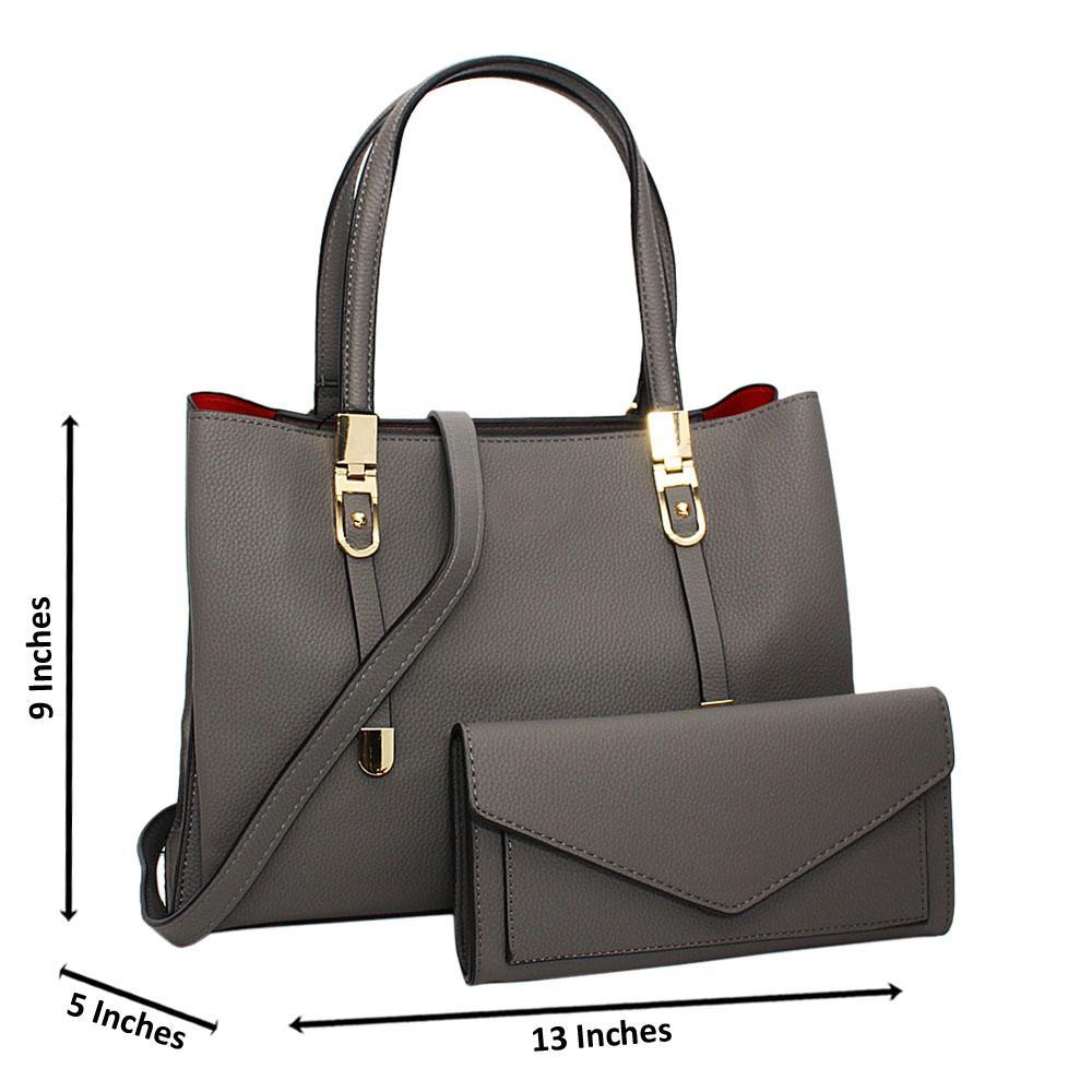 Gray Scarlett Leather Medium Tote Handbag