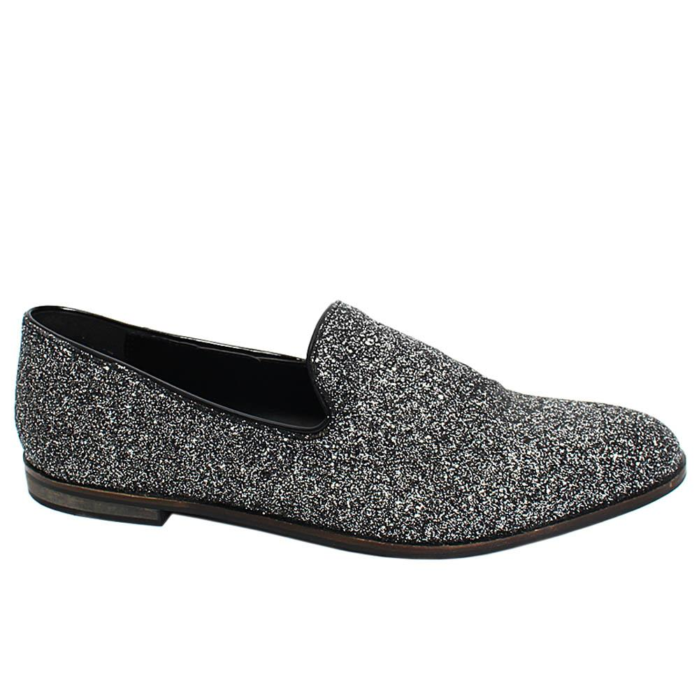 Black Silver Rufus Glitz Leather Men Penny Loafers