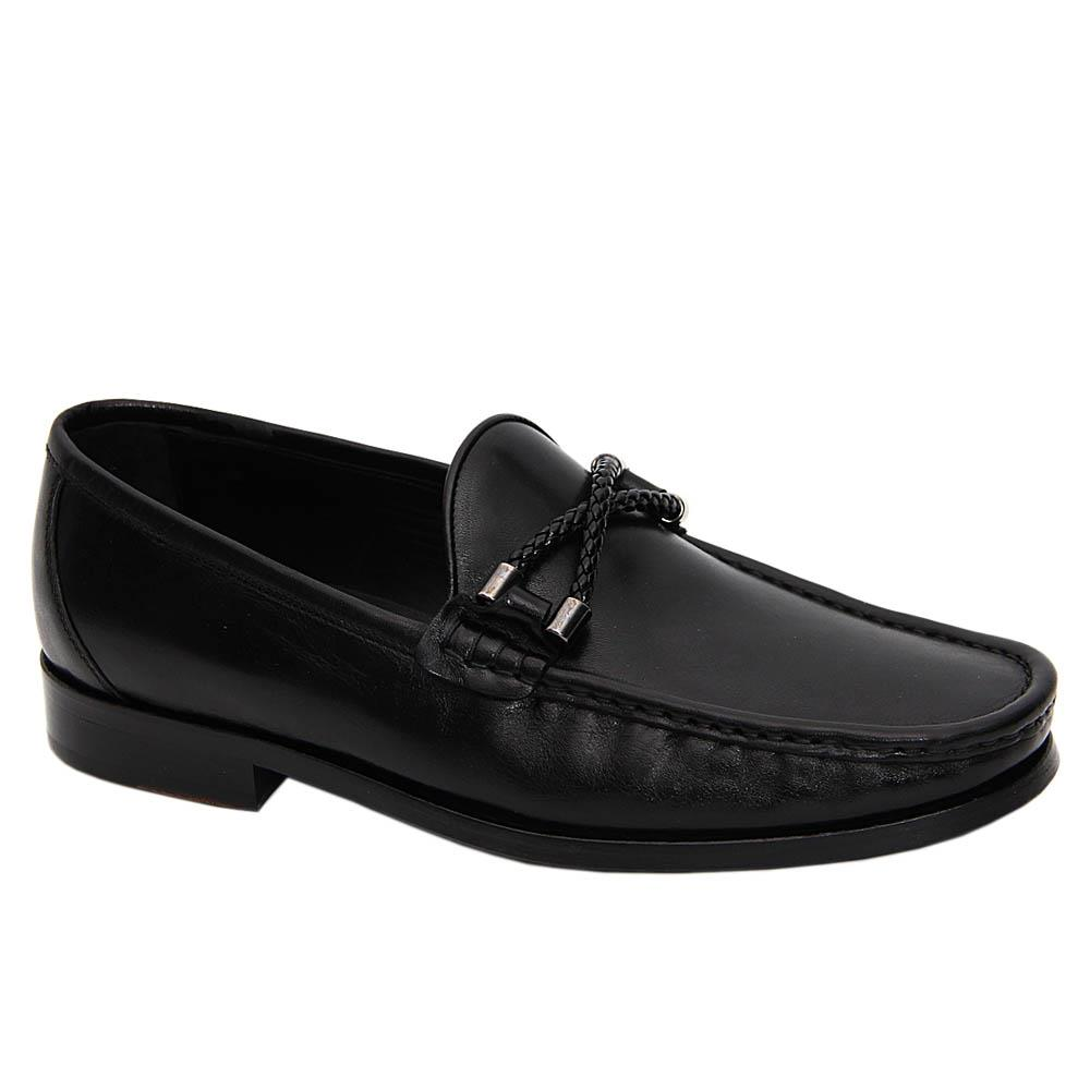 Black Primo Italian Leather Penny Loafers