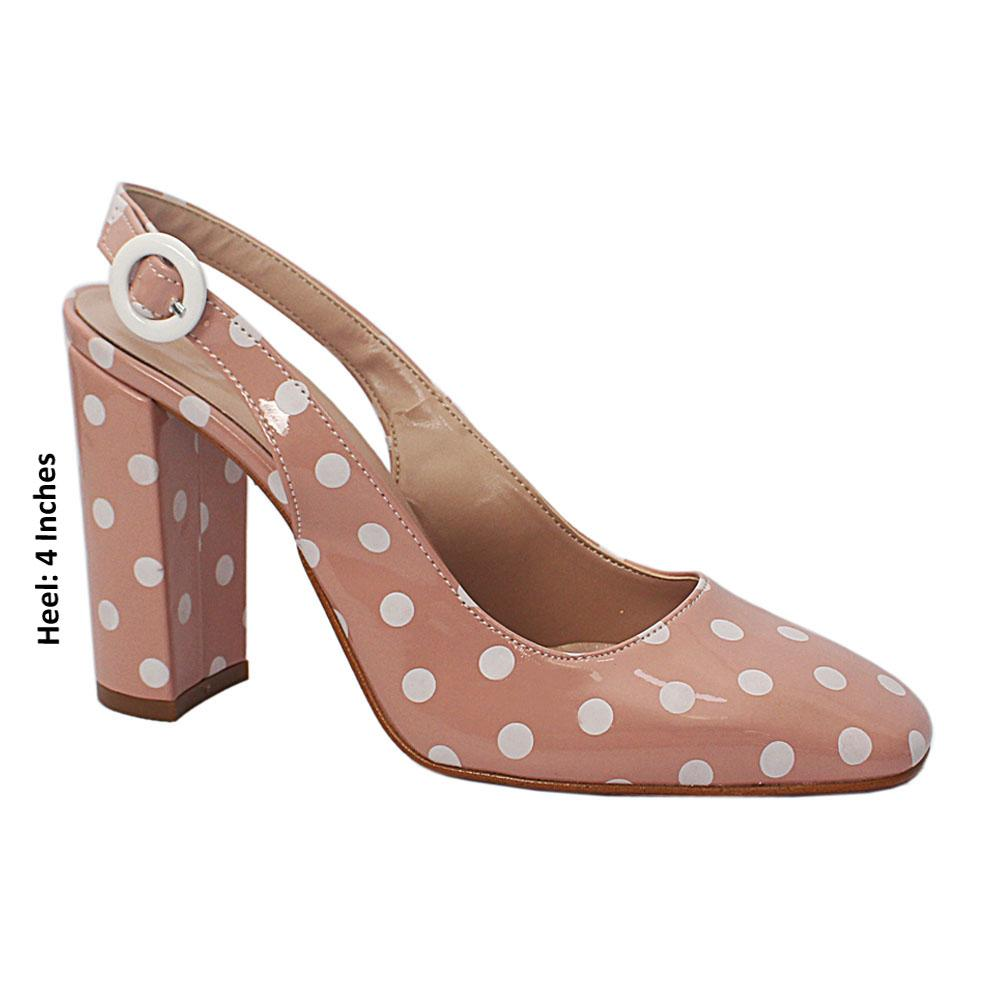 Baby Pink White Polka Dot Patent Leather Heel