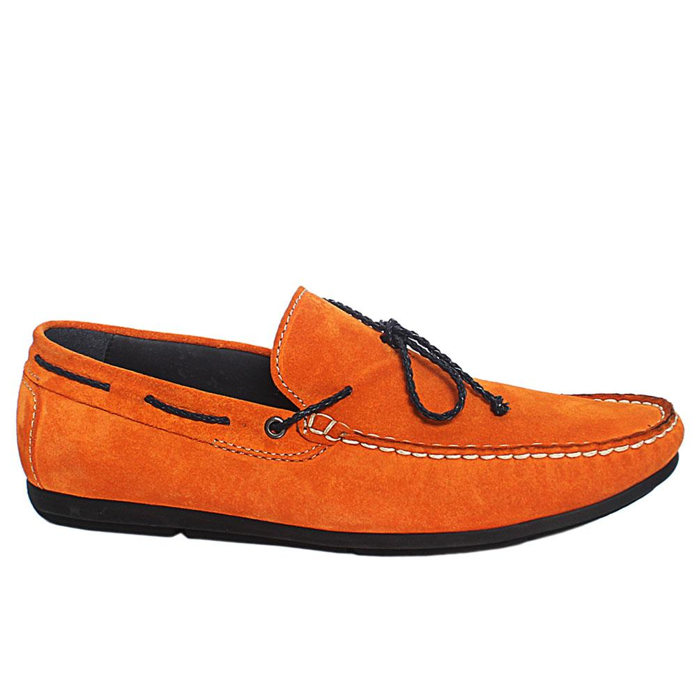 Orange Claudio Suede Leather Loafers