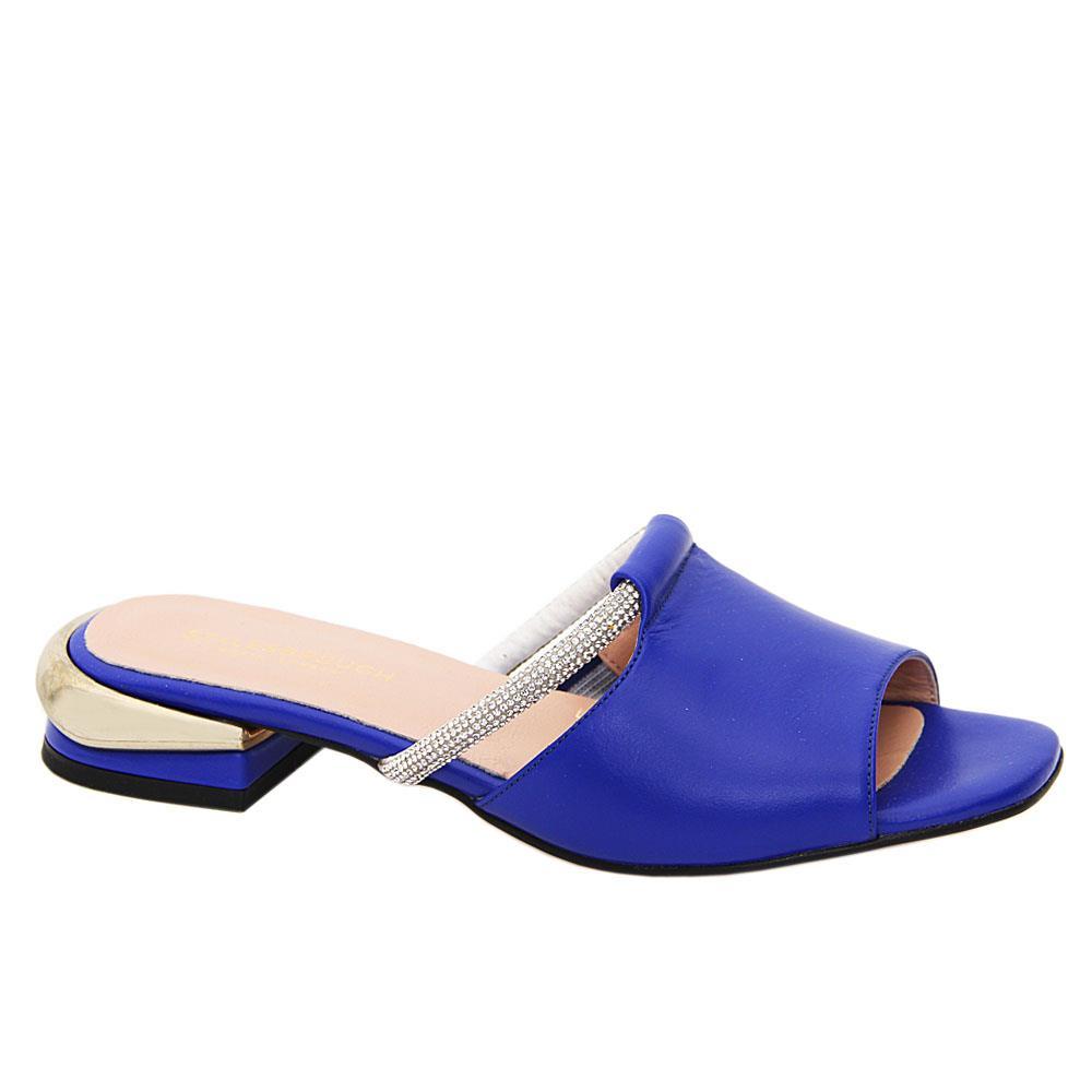 Royal Blue Azalea Studded Tuscany Leather Low Heel Mule