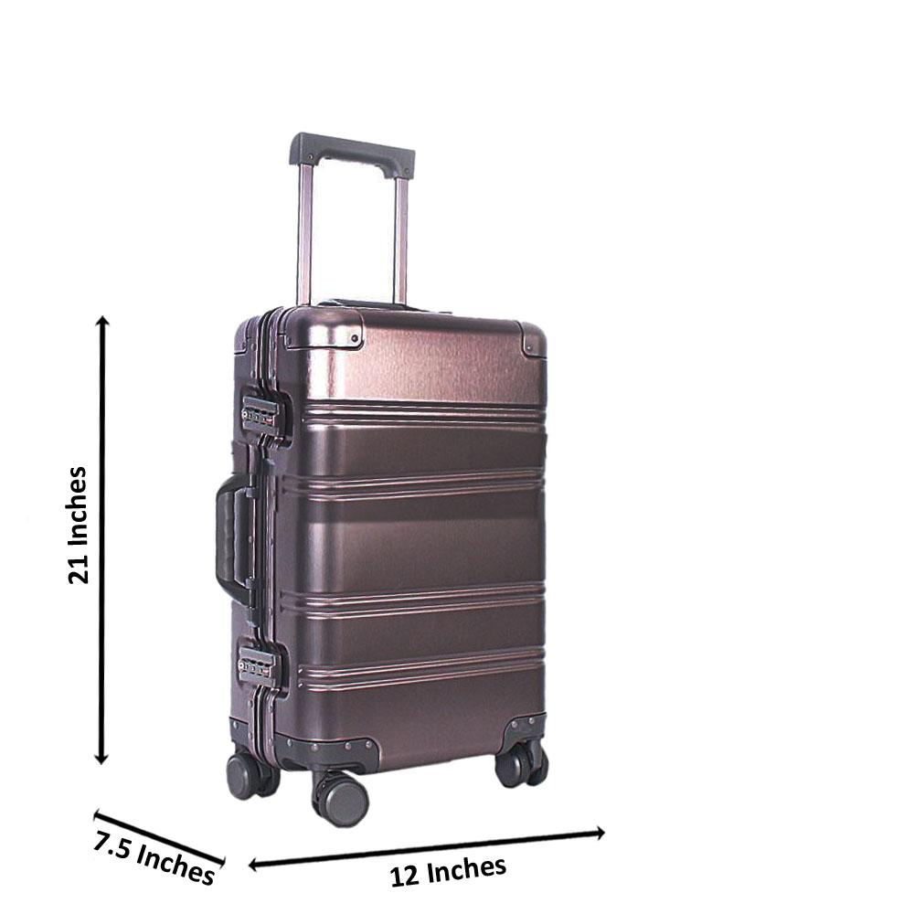 Grey 21 Inch Aluminium Carry On Luggage Wt TSALock