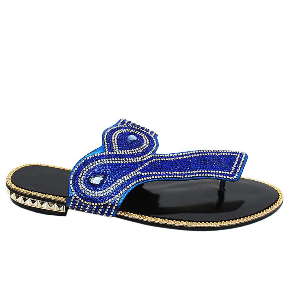 Blue Hannah Studded Leather Ladies Flat Slippers