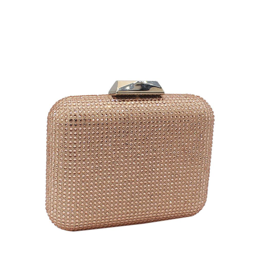 Champagne Nina Crystals Studded Clutch Purse