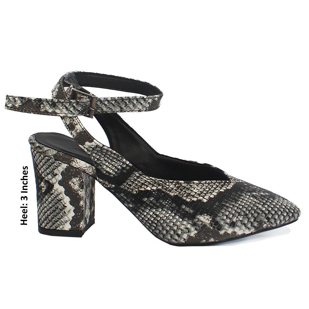 White Black Snake Skin Leather Mid Heel