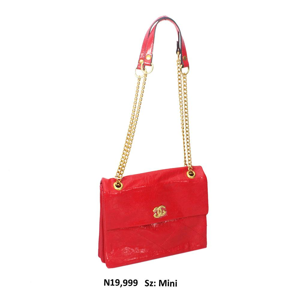 Red Penelope Small Shoulder Threaded Style Soft Leather Handbag