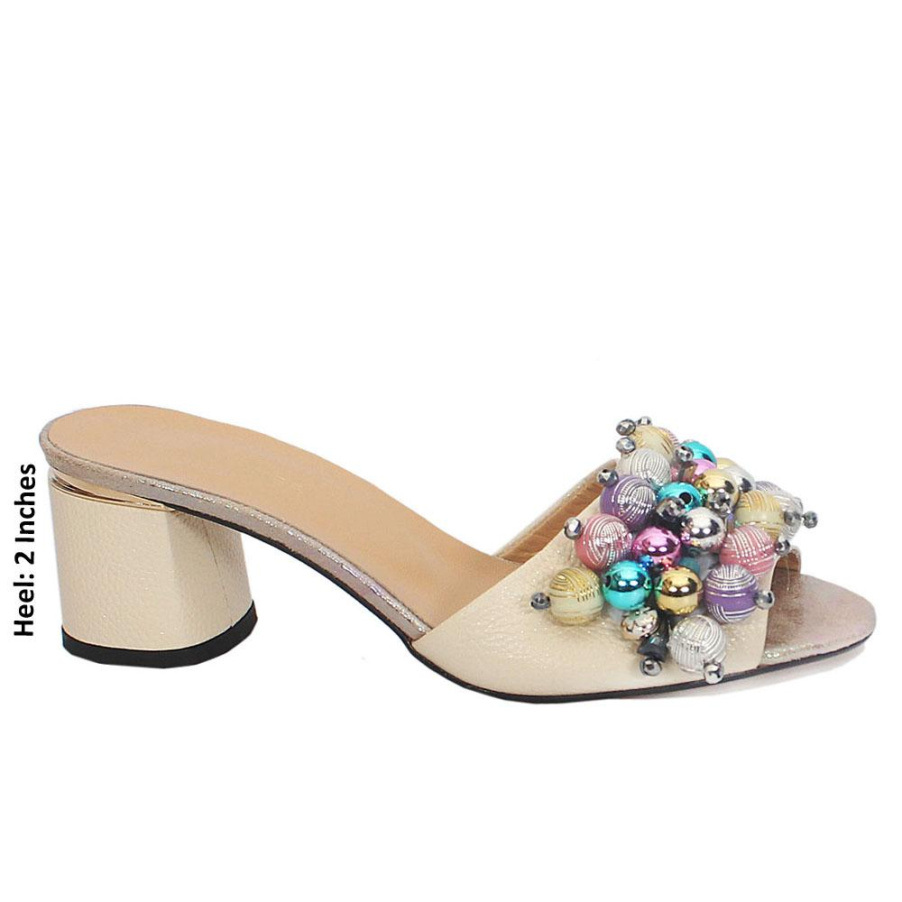 Dossi Cream Zulli Embellished Leather Mule