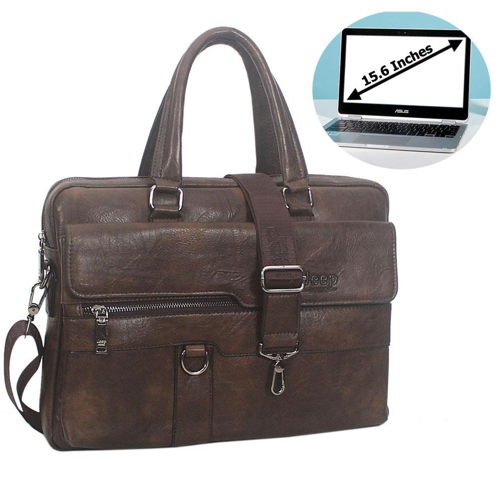 Coffee Cassania Leather Briefcase