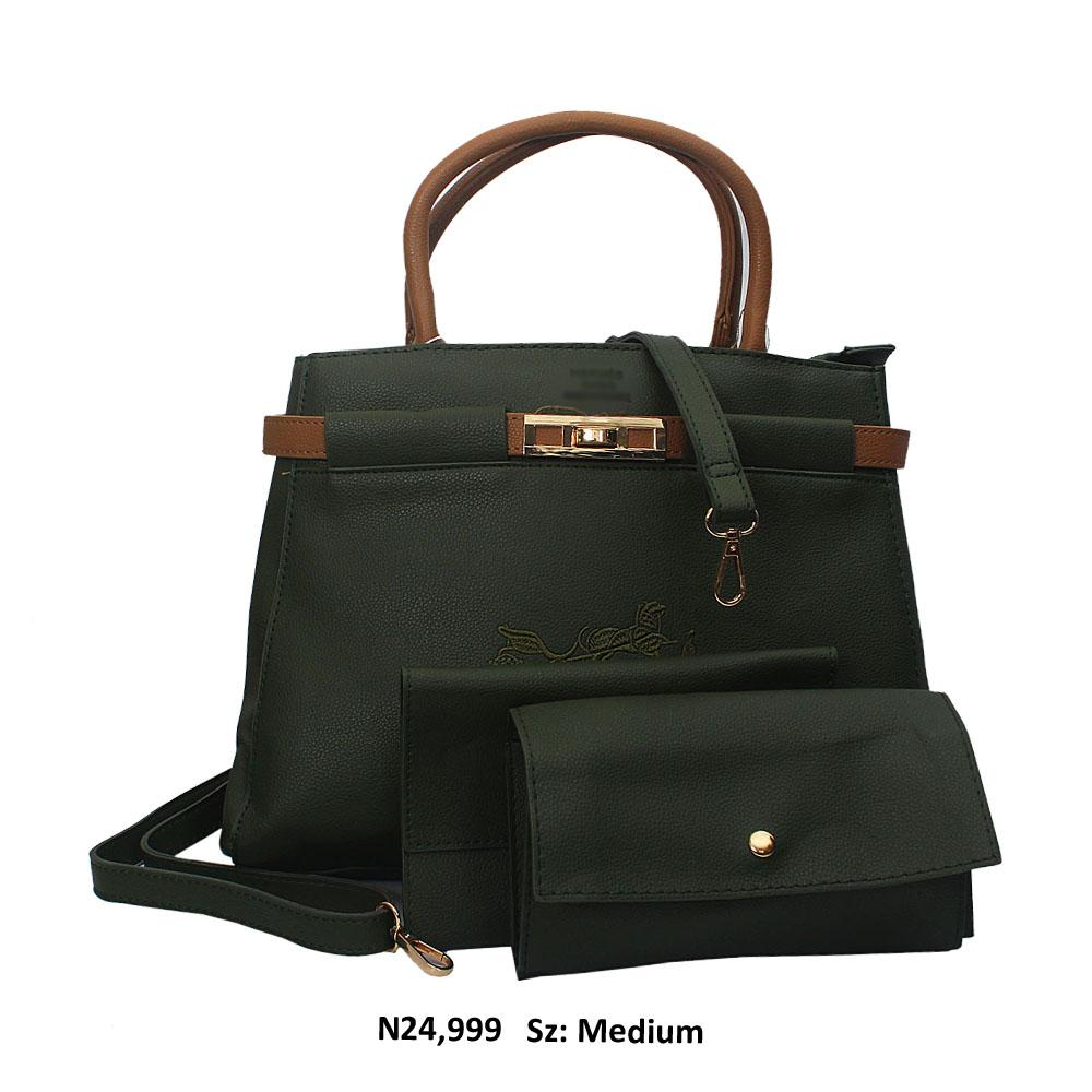 Green Doria Leather Tote Handbag
