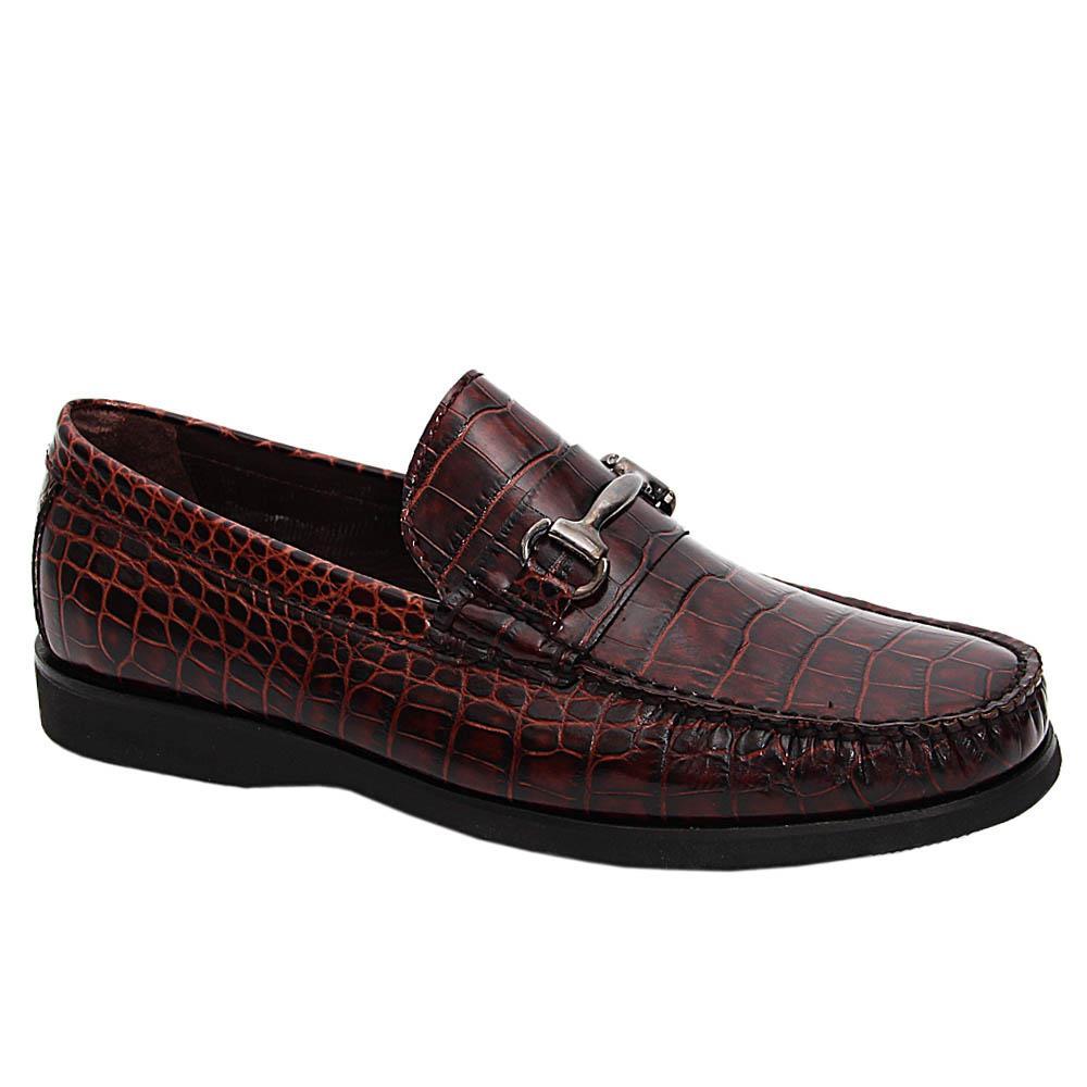 Coffee Croco Italian Leather Loafers