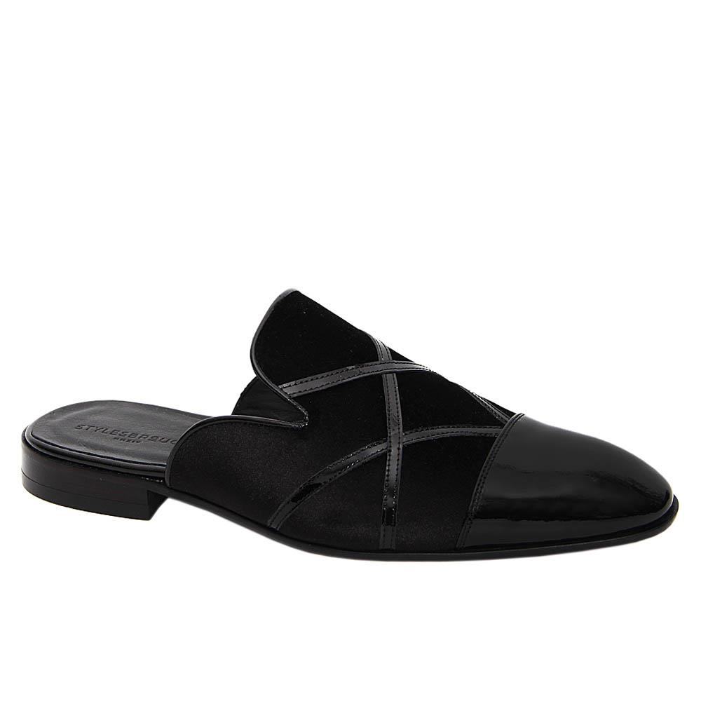 Black Jesse Mix Velour Italian Leather Half Shoe